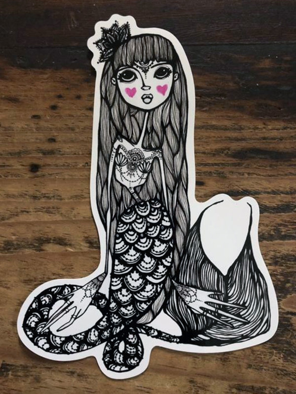 Cute Day of the Dead Mermaid Sticker
