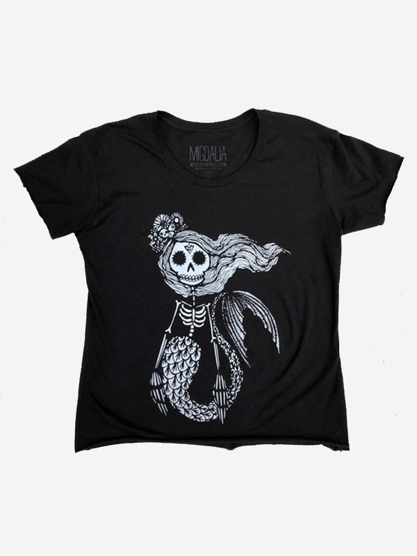 Sugar Skull Mermaid Crop Tee