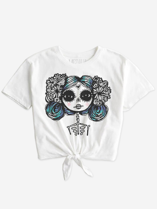 Calavera color doll on front tie shirt