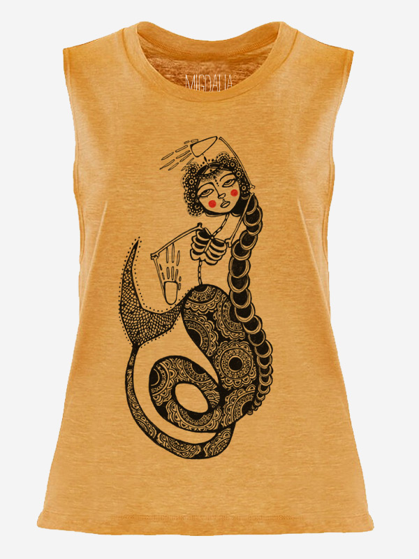 Yellow Muscle Tank Top with Dead Mermaid Design