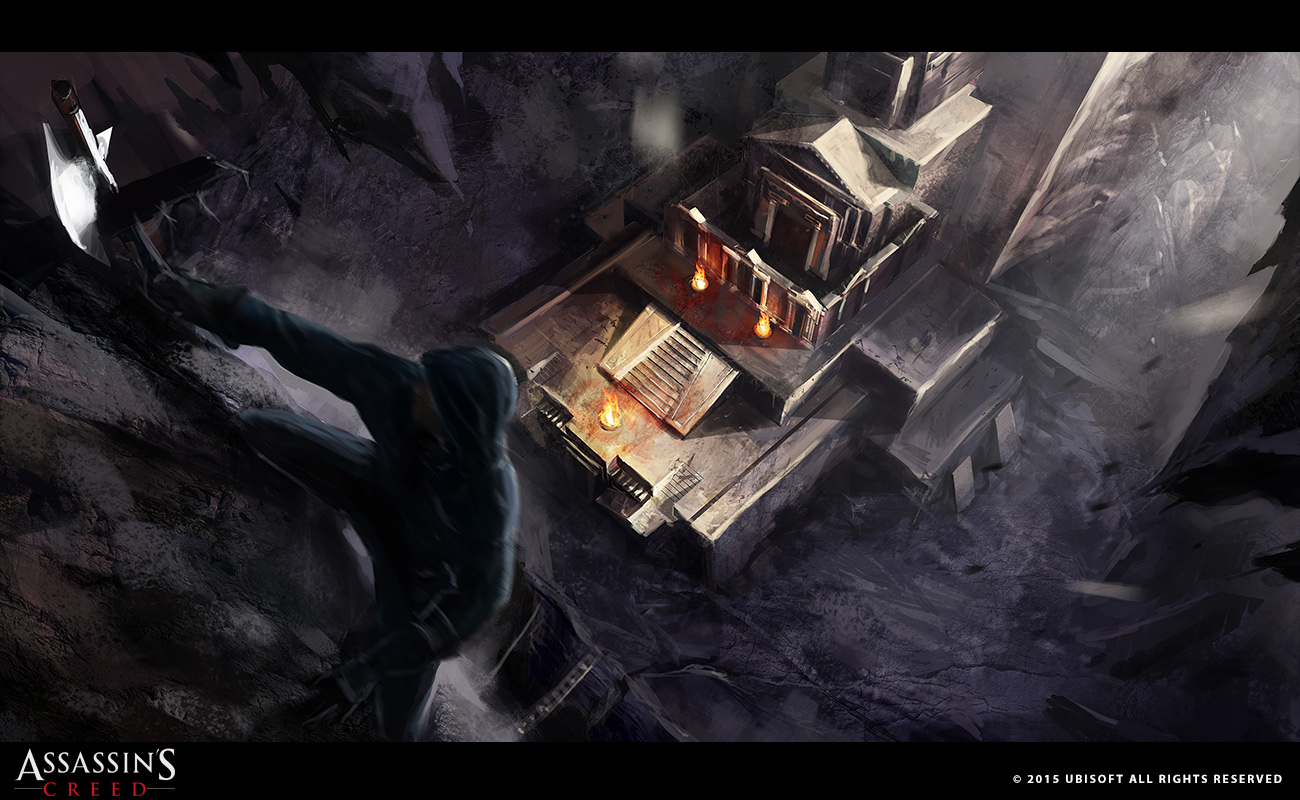 Concept art referencing a scene from AC: Unity - Dead Kings, not included in the final cut of the movie.