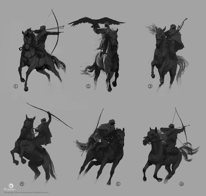 martin-deschambault-aco-bayek-iconic-pose-horse-sketches-mdeschambault