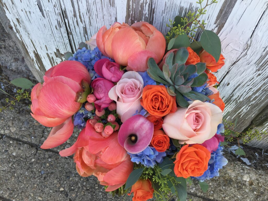 colorful peony bridal bouquet coral charm