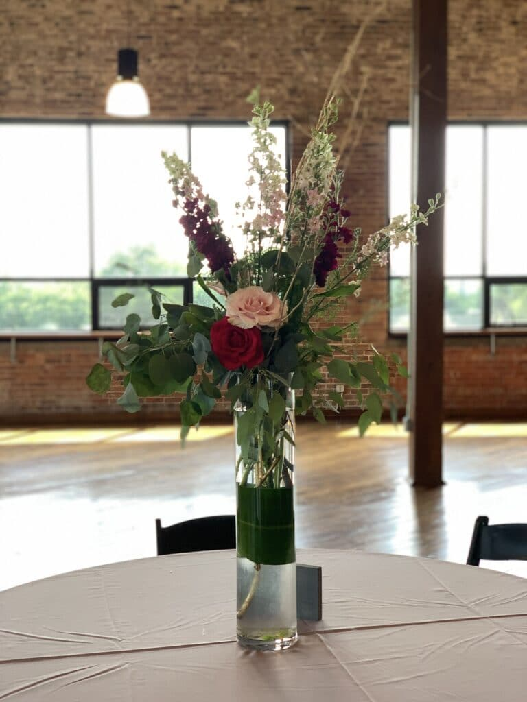 tall pink centerpiece at biltwell event center indianapolis