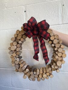 Birch Wreath with Bow $45