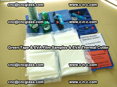 EVA FILM samples, Green tapes, EVA thermal cutter, for safety glazing (1)