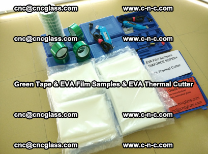 EVA FILM samples, Green tapes, EVA thermal cutter, for safety glazing (12)