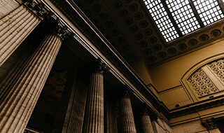 Columns and skylight in a courthouse