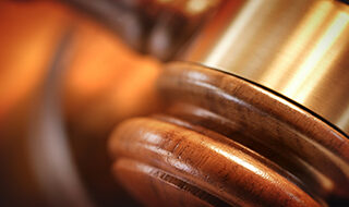 close up image of a gavel