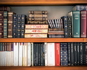 stacks of books on shelves