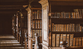 Image of bookshelves in a legal library