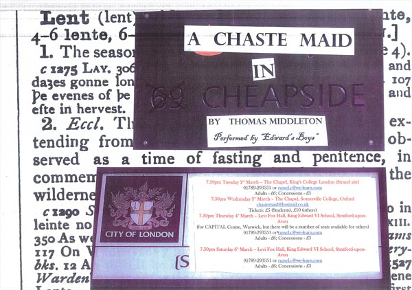 A Chaste Maid in Cheapside (2010) | Edward's Boys