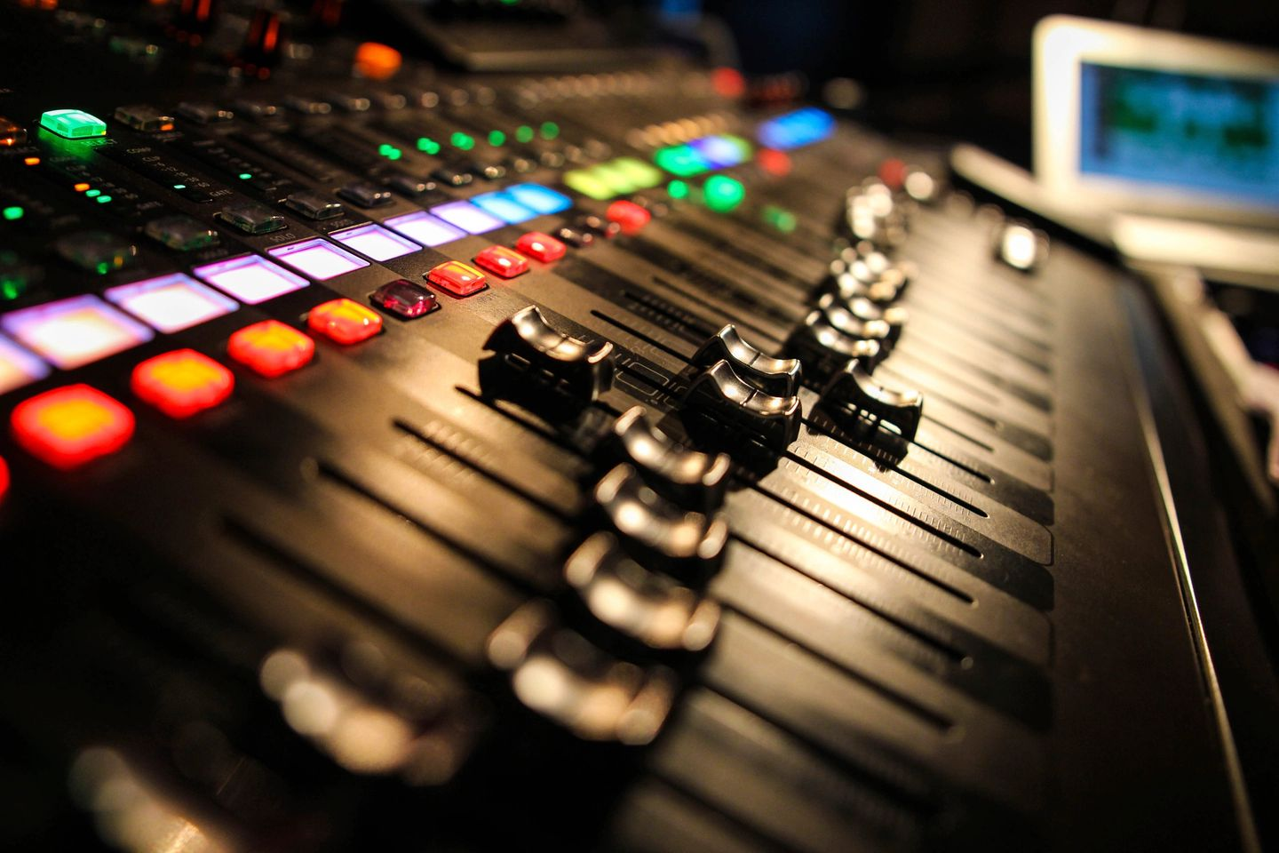 Sound board in rock and roll studio
