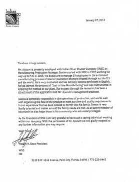 Wes Scott endorses Santos Ajucum Florida