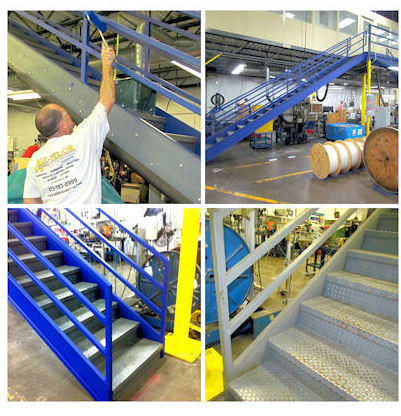 collage of stairway being painted blue in industrial factory