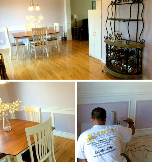 collage of a dining room being painted