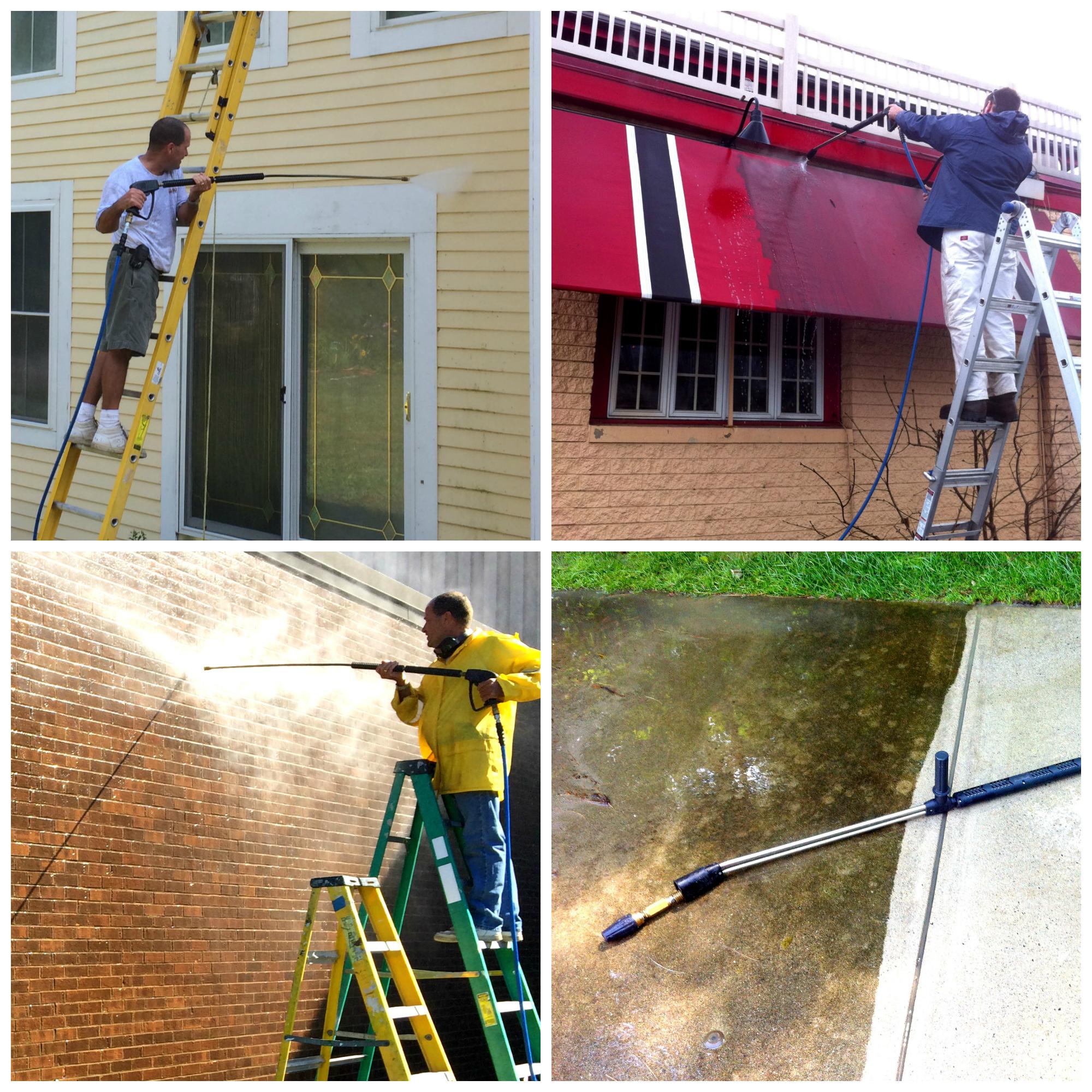 collage of man on ladder powerwashing buildings