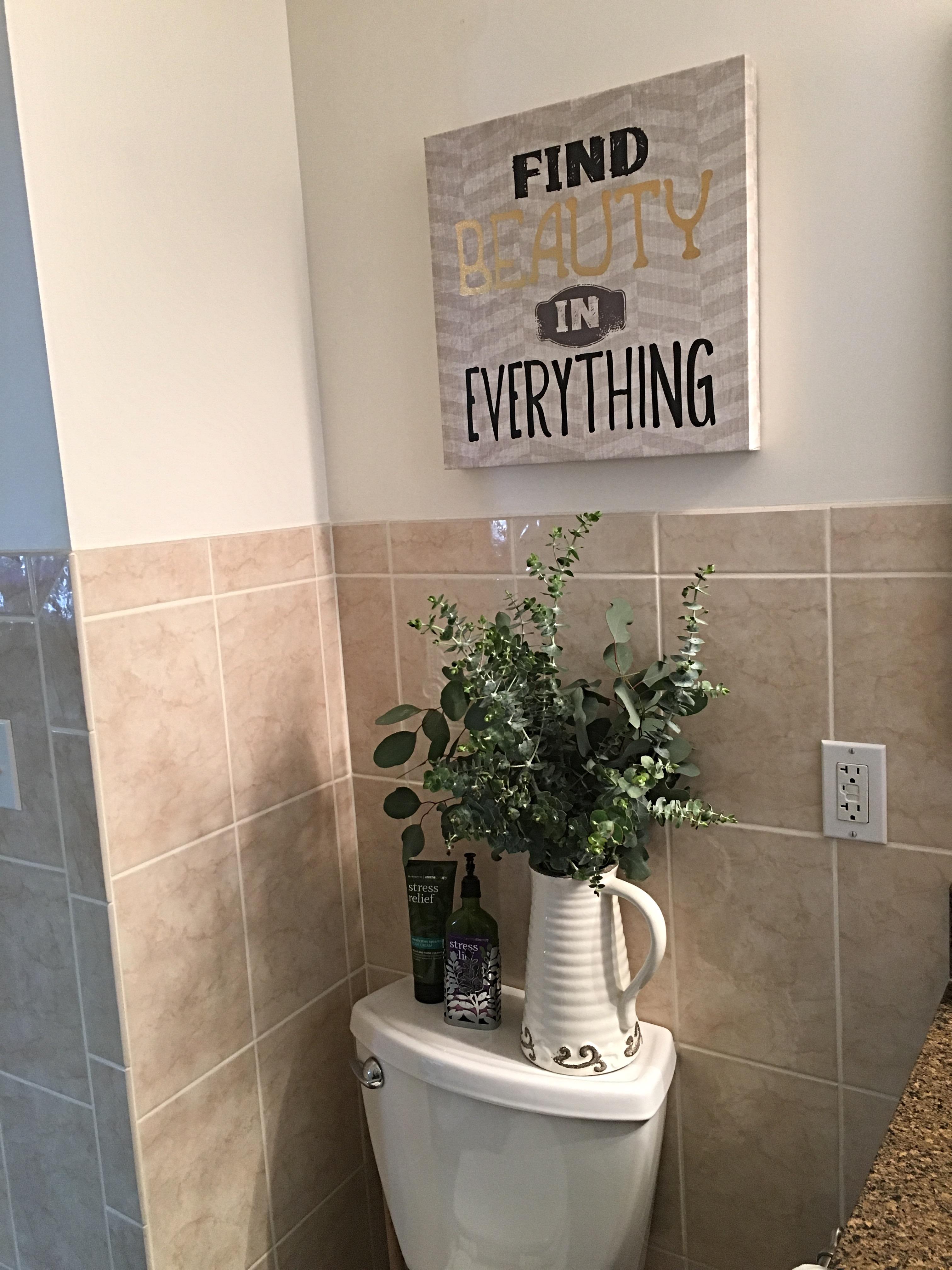 Simple Bathroom Decor with Fresh Eucalyptus