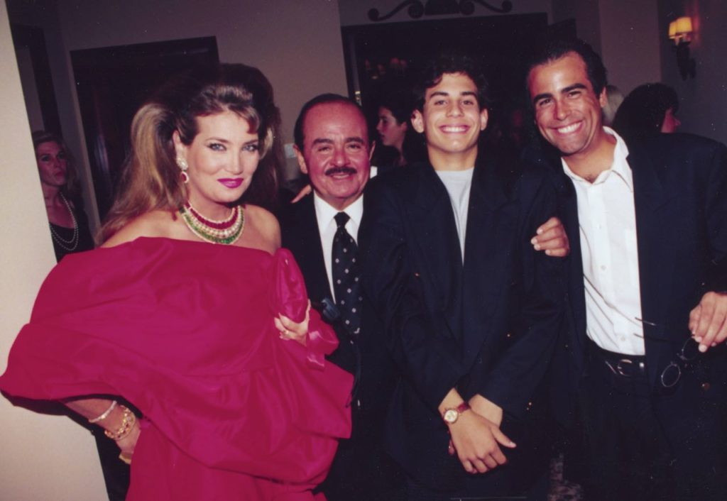 Adnan Khashoggi with sons Hussein and Ali Khashoggi and Lamia Khashoggi