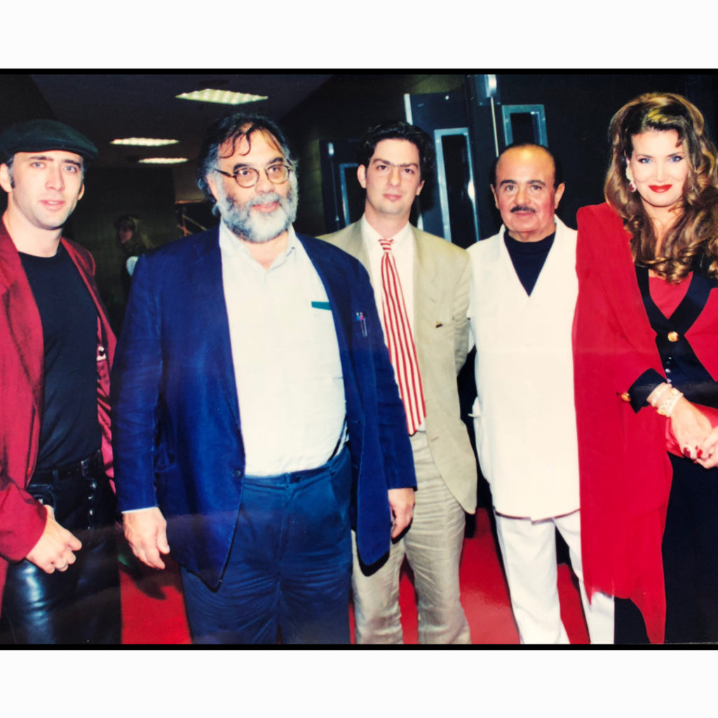 Adnan Khashoggi with Francis Ford Coppola, Nicholas Cage, and Lamia Khashoggi