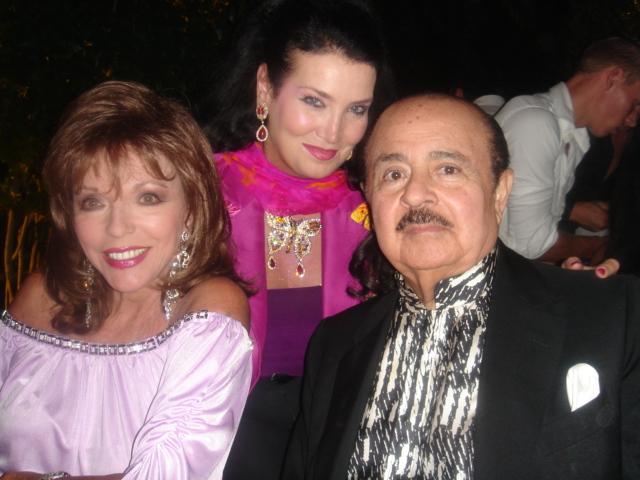 Adnan Khashoggi with Joan Collins and Lamia Khashoggi