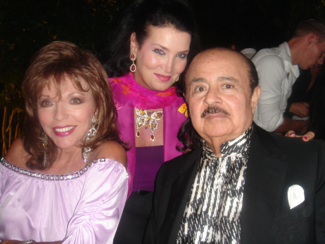Adnan Khashoggi with Joan Collins and Lamia Khashoggi