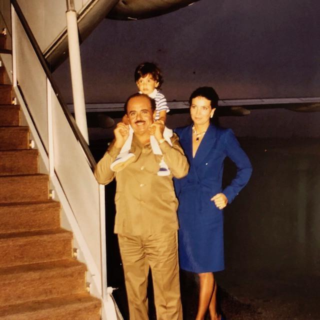 Adnan Khashoggi, son Ali Khashoggi, and Lamia Khashoggi boarding the 727 jet