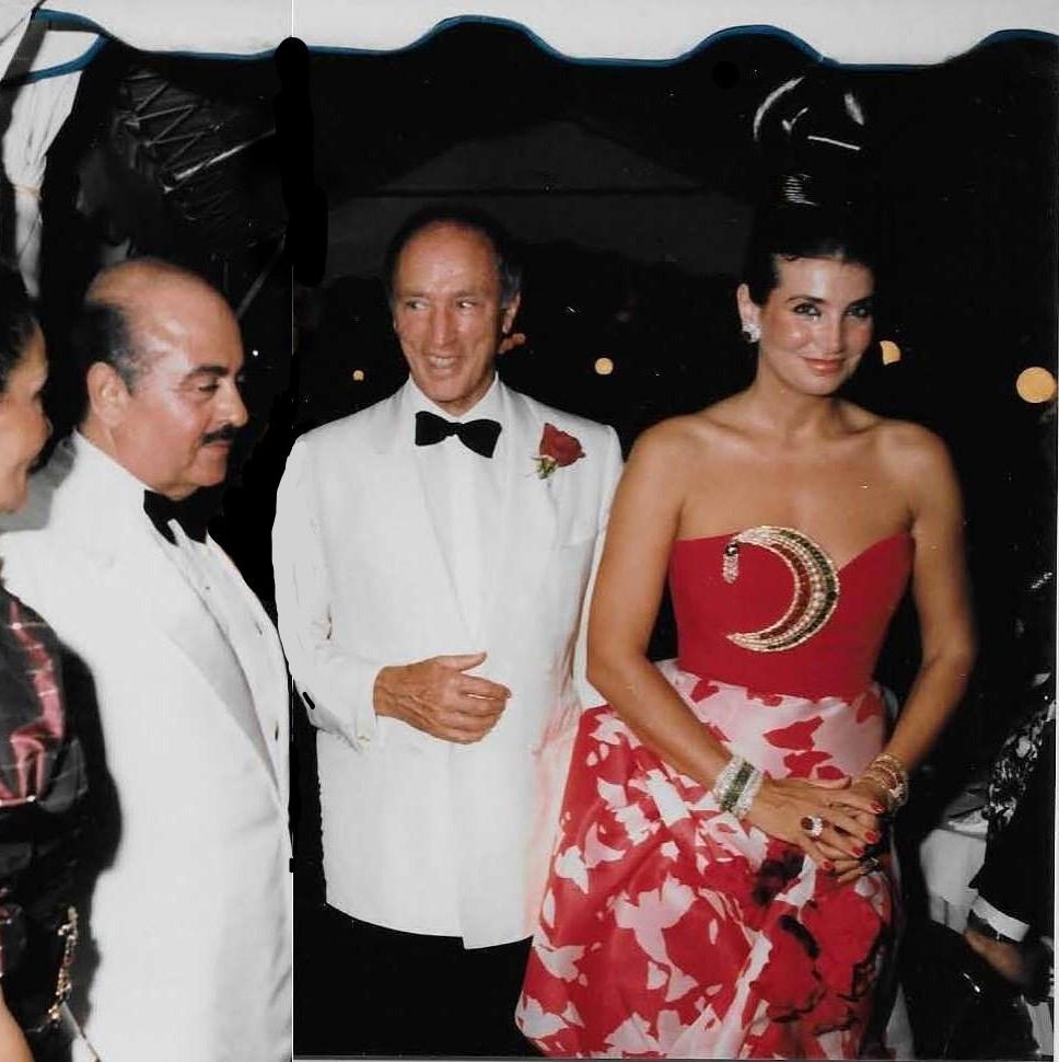 Adnan Khashoggi with Canadian Prime Minister Trudeau and Lamia Khashoggi