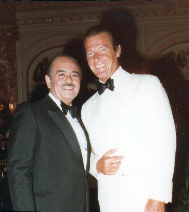 Adnan Khashoggi with Roger Moore