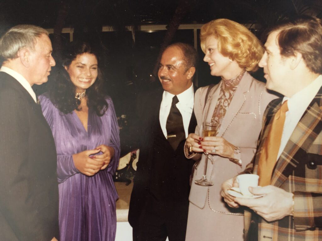 Adnan Khashoggi and Frank Sinatra with Barbara Sinatra, Shecky Greene, and Nabila Khashoggi