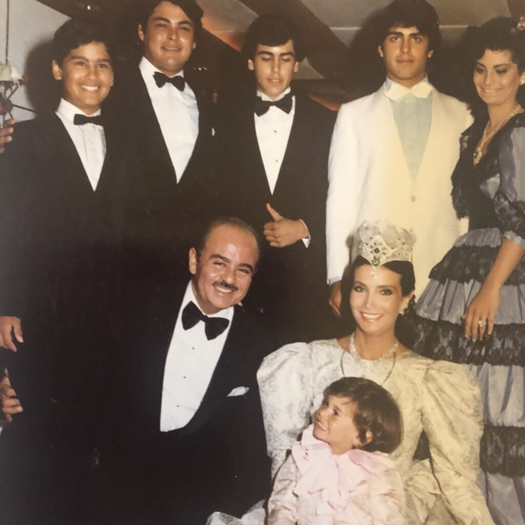 Adnan Khashoggi and Lamia Khashoggi with sons Ali, Omar, Hussein, Khalid, Mohamed, and daughter Nabila