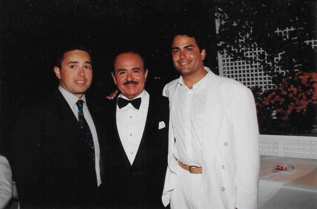 Adnan Khashoggi with son Khalid Khashoggi and Alaa Khashoggi