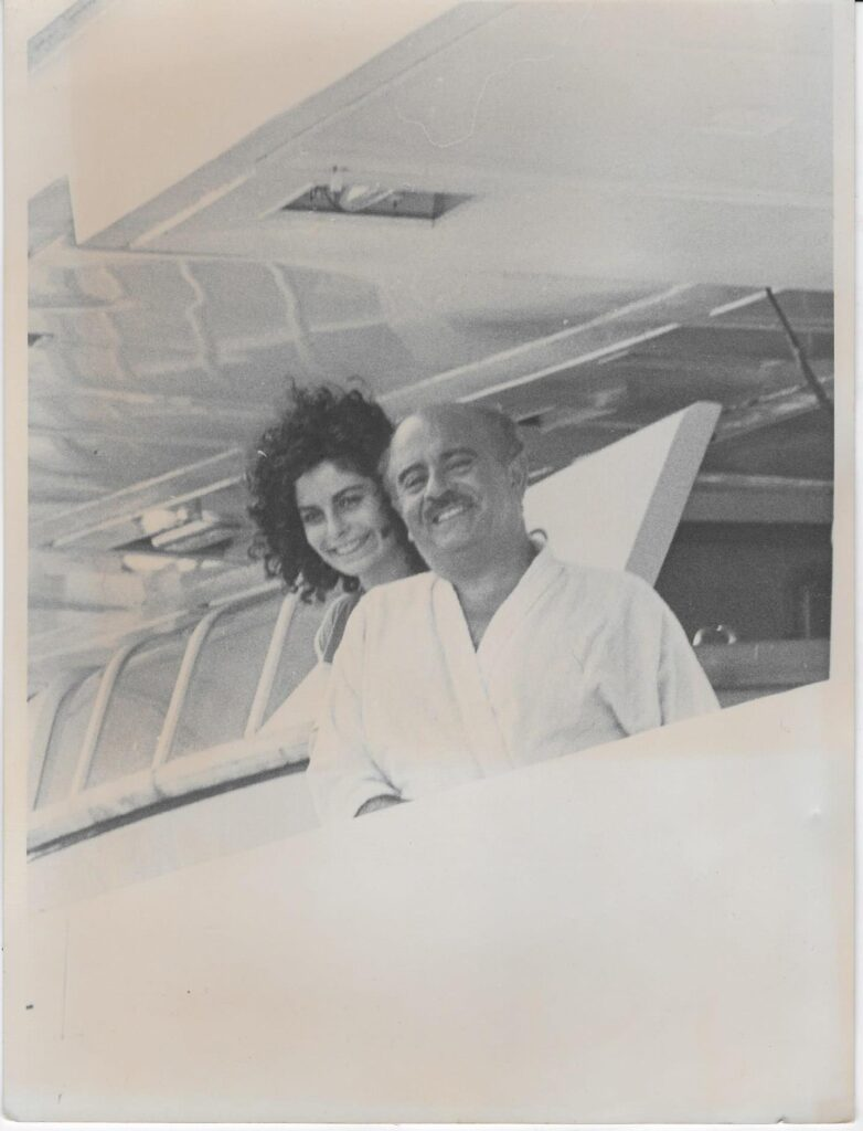 Adnan Khashoggi with Nabila Khashoggi onboard the Nabila Super-Yacht