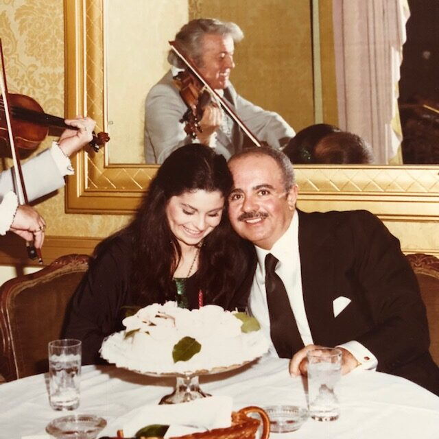 Adnan Khashoggi with Nabila Khashoggi on her birthday