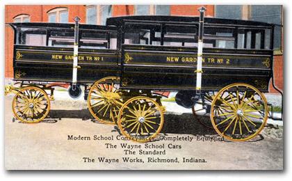 "Horse-drawn ""kid hacks"" postcard"