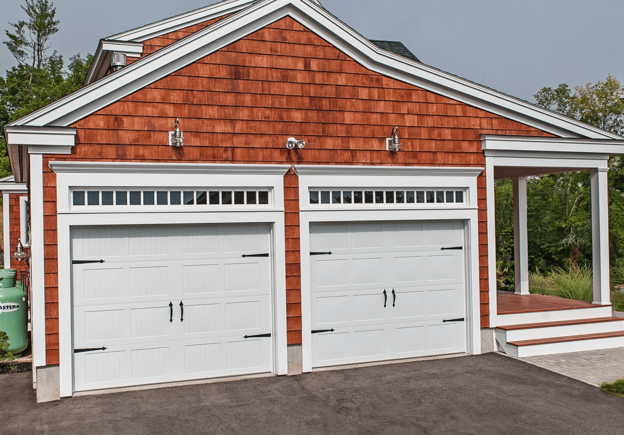 Basic Carriage House Garage Door with Decorative Hardware