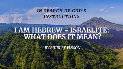 Hebrew Israelite: Covenant with GOD