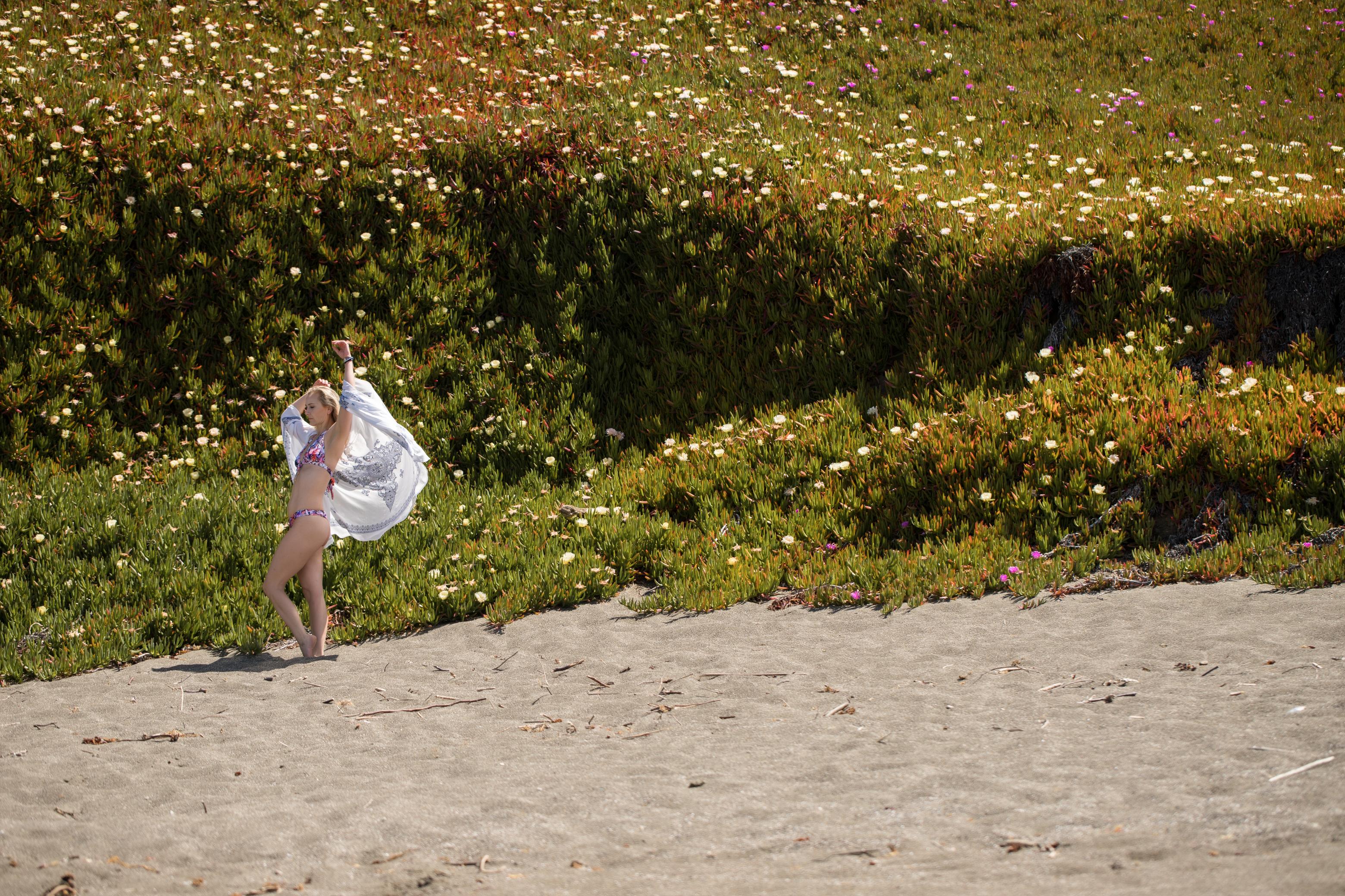 Sonoma coast floral wall swim wrap