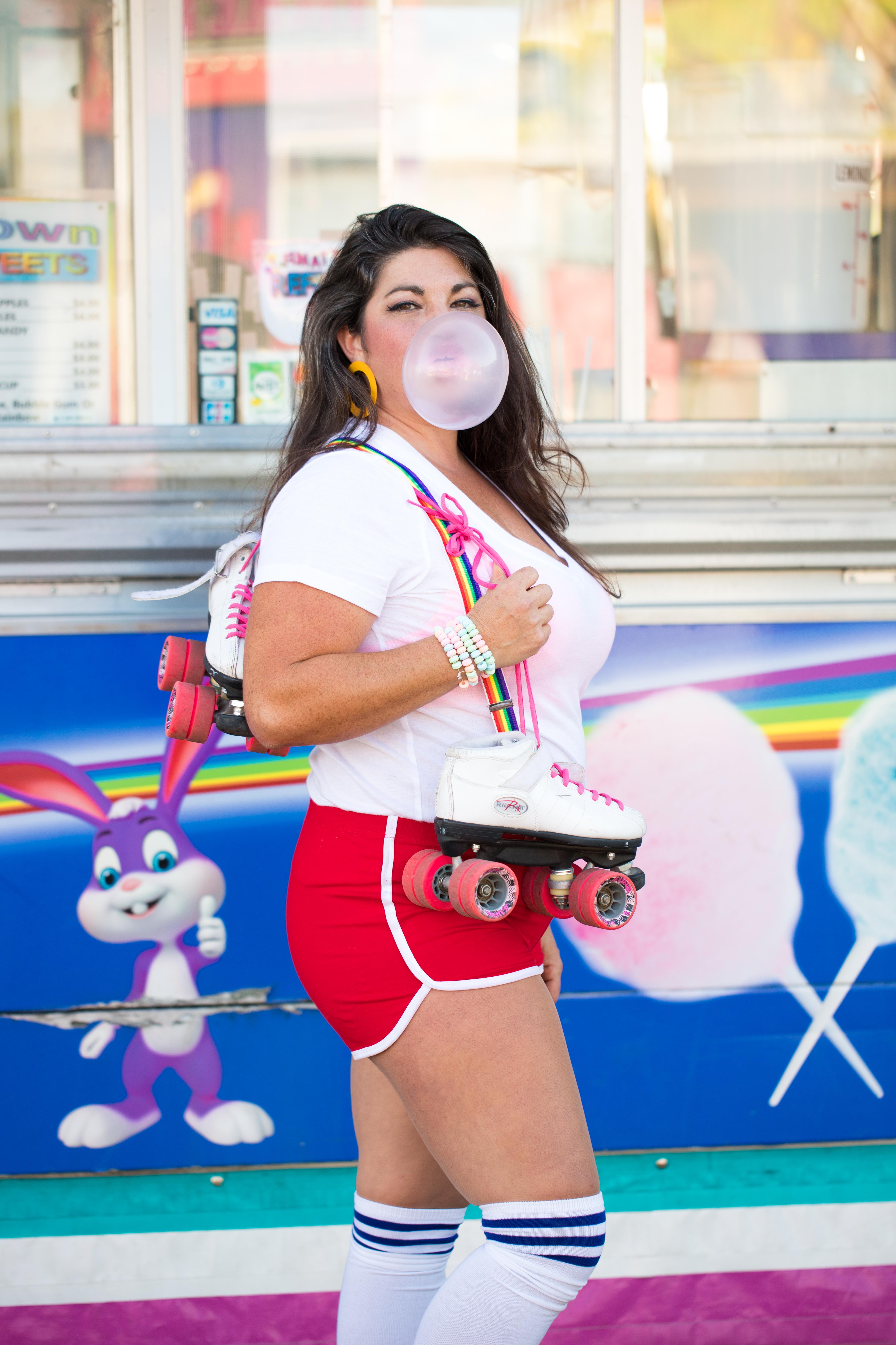roller skates, retro, bright colors