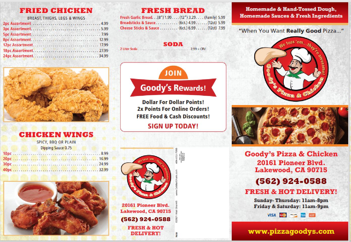 menu goodys pizza