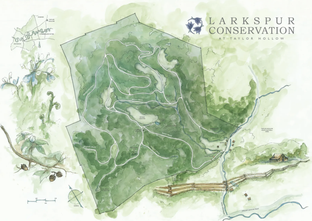 Map of Larkspur Conservation's Taylor Hollow