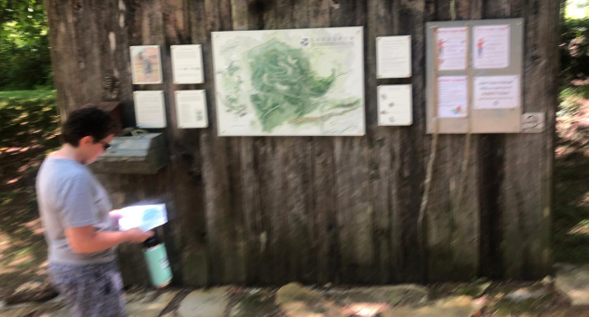 Joyce at Larkspur's Trailhead