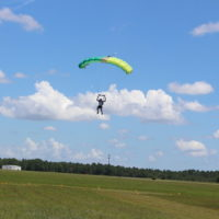 fun jumper coming in to land at World Skydiving Center