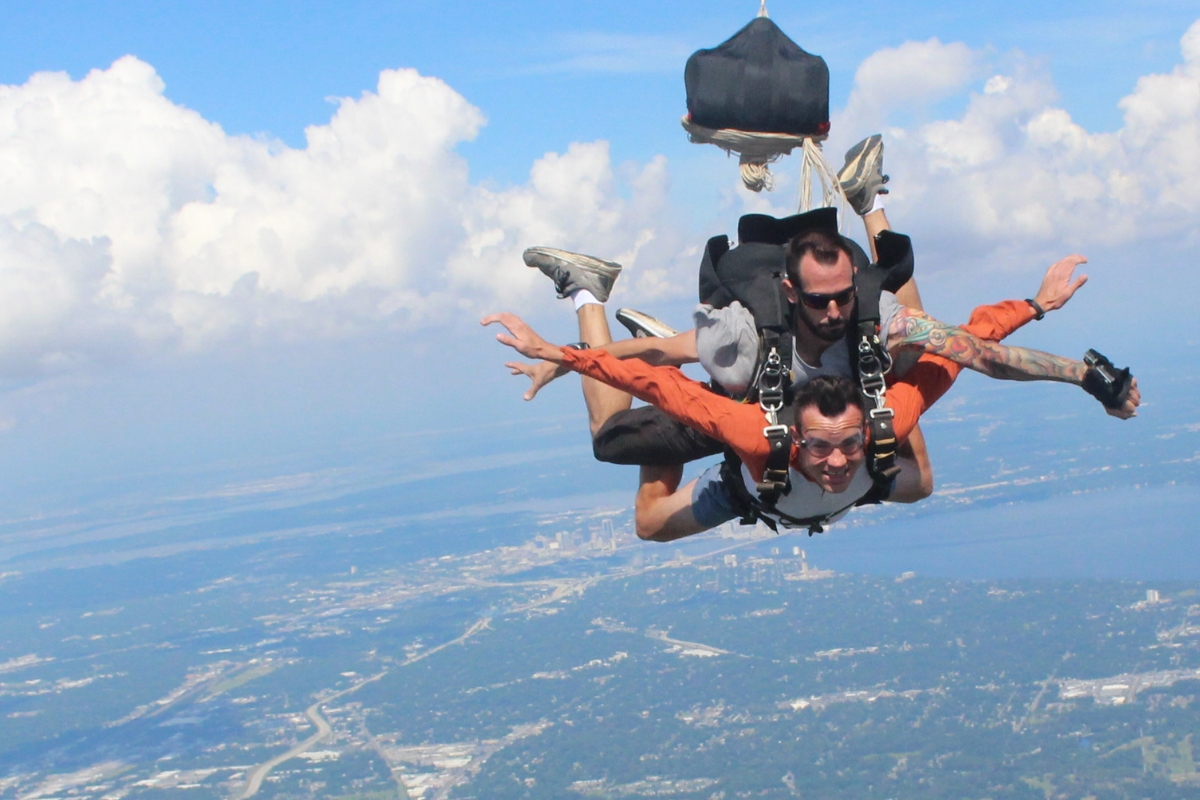 Mike Doke and first time tandem skydiver over Jacksonville FL