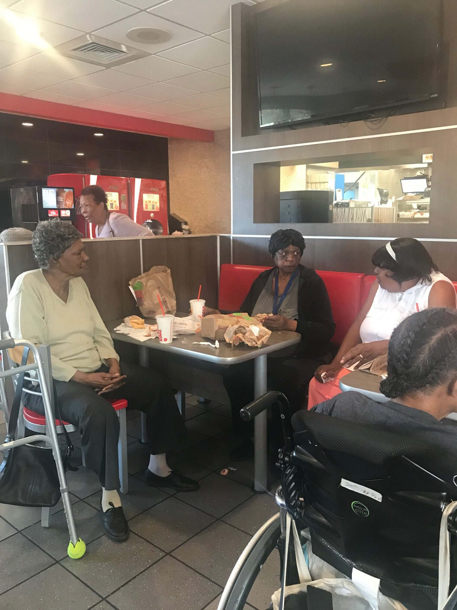 Participants enjoying lunch at Burger King