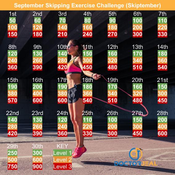 Skiptember September Skipping Exercise Challenge - DoctorJeal