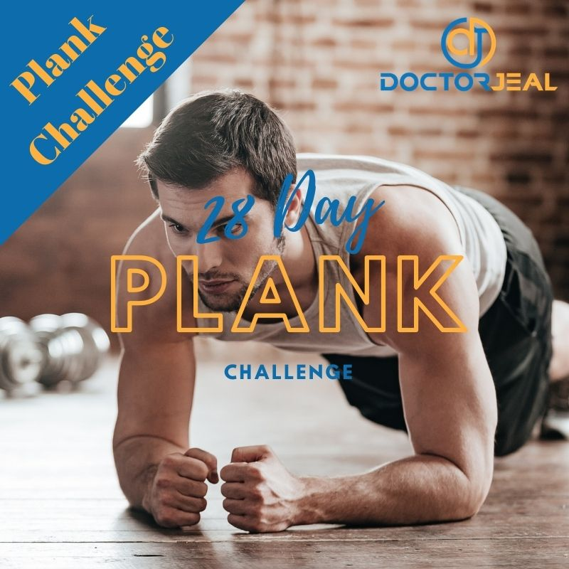 photo of a man performing a plank exercise with the title 28 day plank challenge