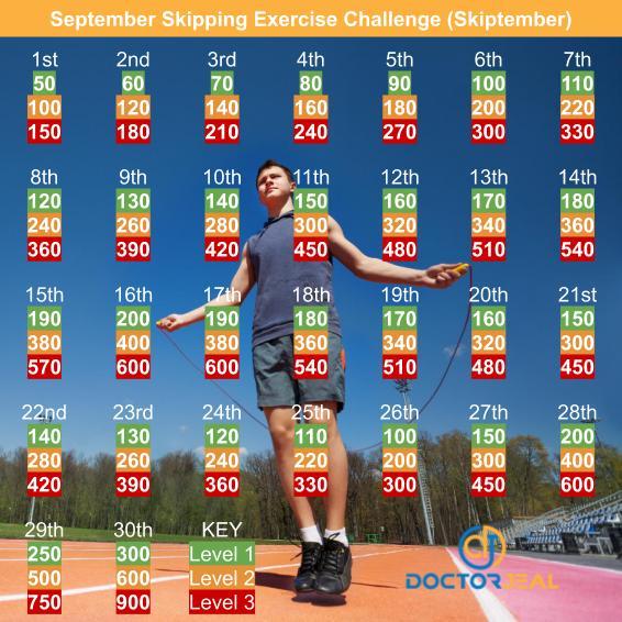 Skiptember September Skipping Exercise Challenge - DoctorJeal - Male