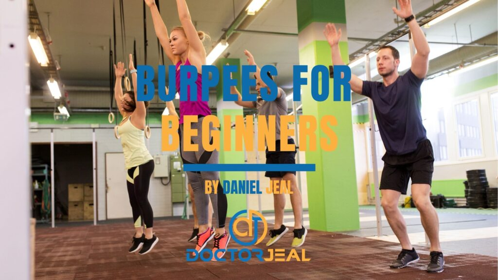 a group of men and women in a fitness class performing burpees with text saying burpees for beginners