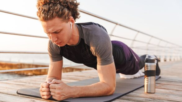 Man performing a plank exercise